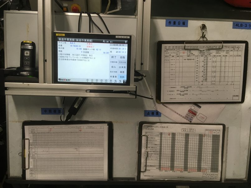 現在、試行中でペーパーの日報、検査表とタブレットを併用使用