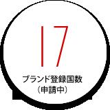 ブランド登録国数(申請中):17